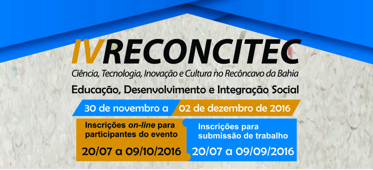 Estão abertas as inscrições para IV Reconcitec