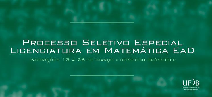 UFRB oferta Licenciatura em Matemática EaD