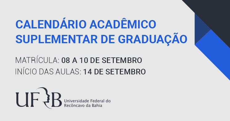 Aulas da graduação iniciam em 14 de setembro